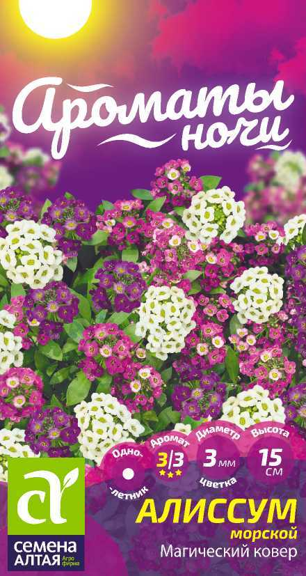 Цветы Алиссум Магический Ковер/Сем Алт/цп 0,1 гр. Ароматы ночи